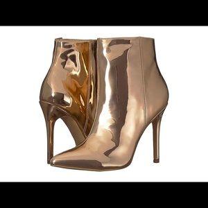 Charles David// rose gold metallic ankle boots